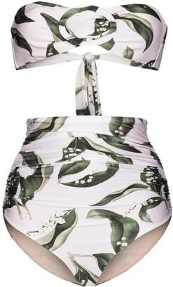 Adriana Degreas Leaf Print Bandeau Bikini Set