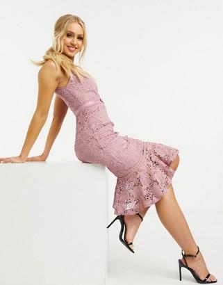 Lipsy lace midi dress with peplum hem in dusky rose