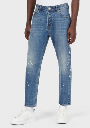 Emporio Armani Tapered Fit J77 Denim Jeans With Spots