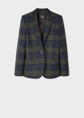 Paul Smith Women's Navy Tartan Check Wool-Blend Blazer