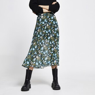 River Island Womens Blue floral printed midi skirt