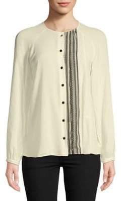 Derek Lam Collarless Silk Button-Down Shirt