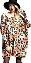 YOUJIA Women's Plus Size Pullover Leopard Bat Sleeve Sweater