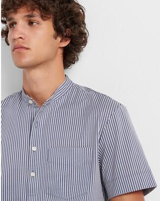 Club Monaco Short Sleeve Striped Popover