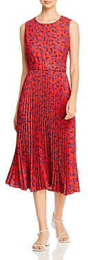 T Tahari Pleated Floral Print Dress