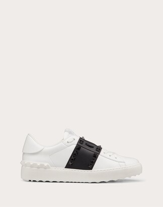 Valentino Rockstud Untitled Sneaker In Calfskin Leather With Tonal Studs Women White/ Black Calfskin 100% 38