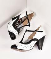 Bettie Page White & Black Leatherette Spectator Paige T-Strap Heels Shoes