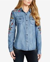 Jessica Simpson Juniors' Embroidered Chambray Shirt