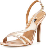 Kay Unger Aideen Strappy Metallic Sandal, Iridescent/Blush