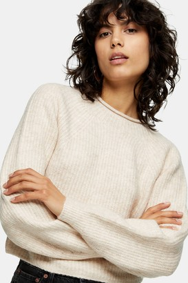 Topshop Ribbed Cropped Crew Neck Knitted Sweater