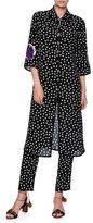 Dolce & Gabbana Long Embellished Polka Dot Tunic Blouse, Black/White/Purple