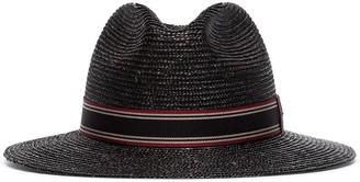 Saint Laurent grosgrain-trimmed straw trilby hat