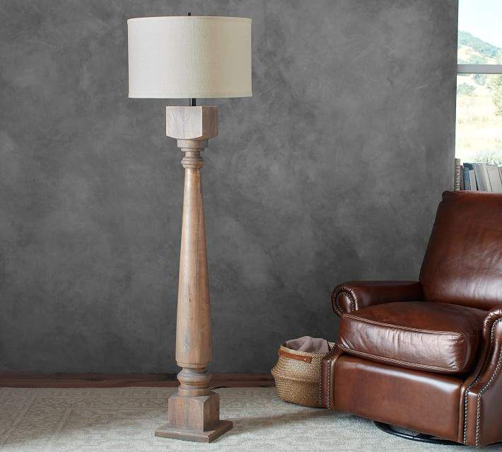 Pottery Barn Atrium Lamp: Pottery Barn Wood Lamp