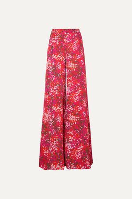 Stella McCartney Net Sustain Printed Crepe De Chine Wide-leg Pants - Red