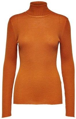 Selected Viscose Slfcosta Long Sleeves Roll Neck Sweater - Sandshell / M