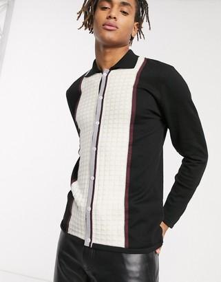 Sacred Hawk paneled lightweight cardigan in stripe