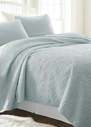 IENJOY HOME Home Spun Premium Ultra Soft Damask Pattern Quilted Twin Coverlet Set - Pale Blue