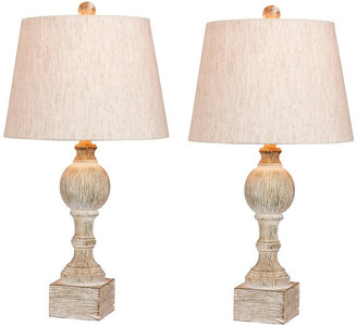 """Fangio Lighting 26.5"""" Distressed Column Resin Table Lamp, Set Of 2, Cottage Antique Wh"""