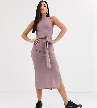 Asos DESIGN Tall sleeveless rib marl midi dress with open back in pink black