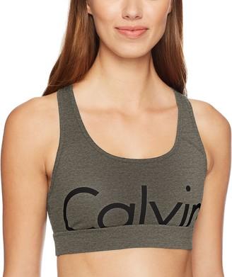 Calvin Klein Women's Large Cut Off Logo Racerback Bra
