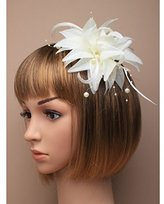Inca Cream Fascinator on Headband/ Clip-in for Weddings, Races and Occasions-5230