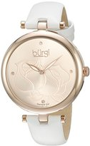 Burgi Women's BUR151WTR Rose Gold Quartz Watch With Rose Diamond Dial And White Leather Strap