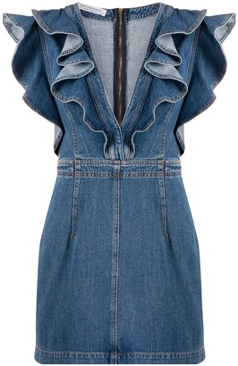 Philosophy di Lorenzo Serafini Plunge Denim Mini Dress