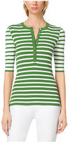 Michael Kors Striped Stretch-Jersey Henley