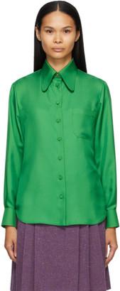Gucci Green Silk Twill Shirt
