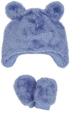 eb62ab183 Fluffy Trapper Hat And Mittens Set,9-12 months