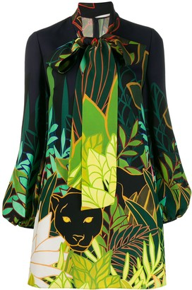 Valentino Panther in the Jungle bow collar dress