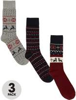V By Very Pack Of Three Christmas Patterned Socks