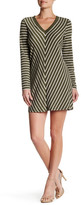 Max Studio Striped Long Sleeve Swing Dress
