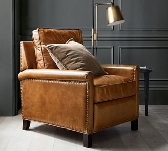 Pottery Barn Tyler Leather Roll Arm Recliner With Nailheads