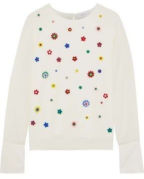 Milly Eleanore Floral-appliqued Stretch-silk Top