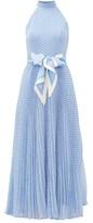 Zimmermann Super Eight Halterneck Polka-dot Crepe Dress - Womens - Blue Print
