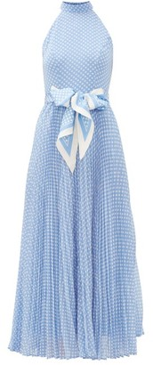 Zimmermann Super Eight Halterneck Polka-dot Crepe Dress - Womens - Blue Print