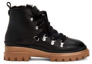 Calvin Klein Lark Faux Fur-Lined Leather Booties