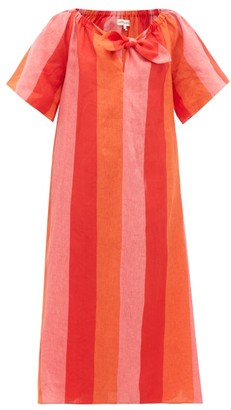 Mara Hoffman Kamala Off-shoulder Striped-linen Dress - Red Stripe