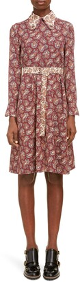 Chloé Long Sleeve Paisley Silk Dress