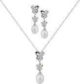 Pearl & Cubic Zirconia Butterfly Pendant Necklace & Earrings