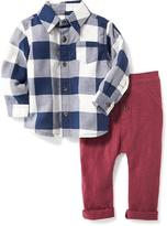 Old Navy Plaid Shirt & Slub-Knit Pant 2-Piece Set for Baby