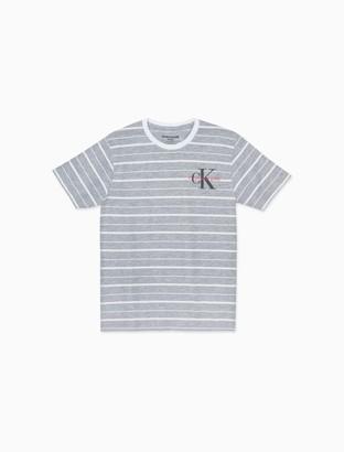 Calvin Klein Big Boys Striped Monogram Logo Crewneck T-Shirt