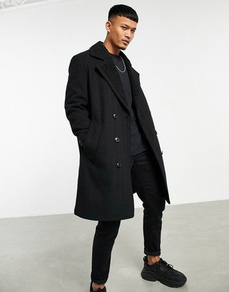 ASOS DESIGN wool mix overcoat with teddy lining in black
