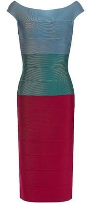 Herve Leger Off-the-shoulder Color-block Bandage Dress
