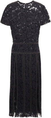 Valentino Pleated Studded Cotton-blend Corded Lace And Tulle Midi Dress