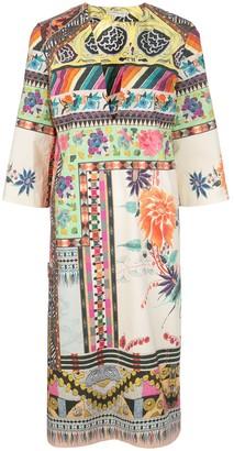 Etro print-mix V-neck dress