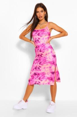 boohoo Tie Dye Strappy Midi Slip Dress