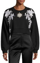 Francesco Scognamiglio Floral Embellished Cropped Cotton Sweatshirt, Black