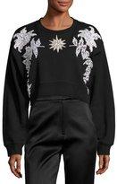 Francesco Scognamiglio Floral Embellished Cropped Cotton Sweatshirt, Black